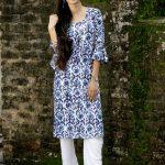 Indigo Block Printed Straight Rayon Kurti kurti manufacturer in jaipur