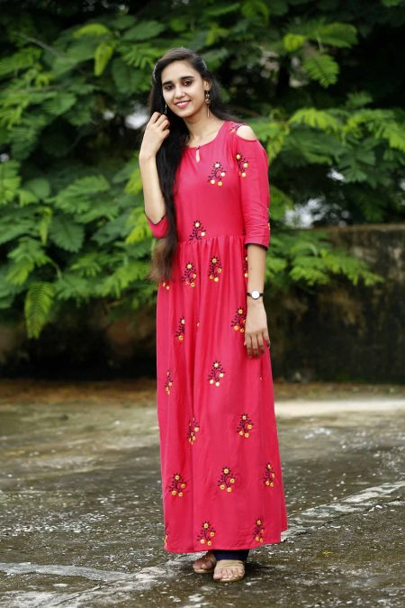frock style long embroidery kurti kurti manufacturer in jaipur