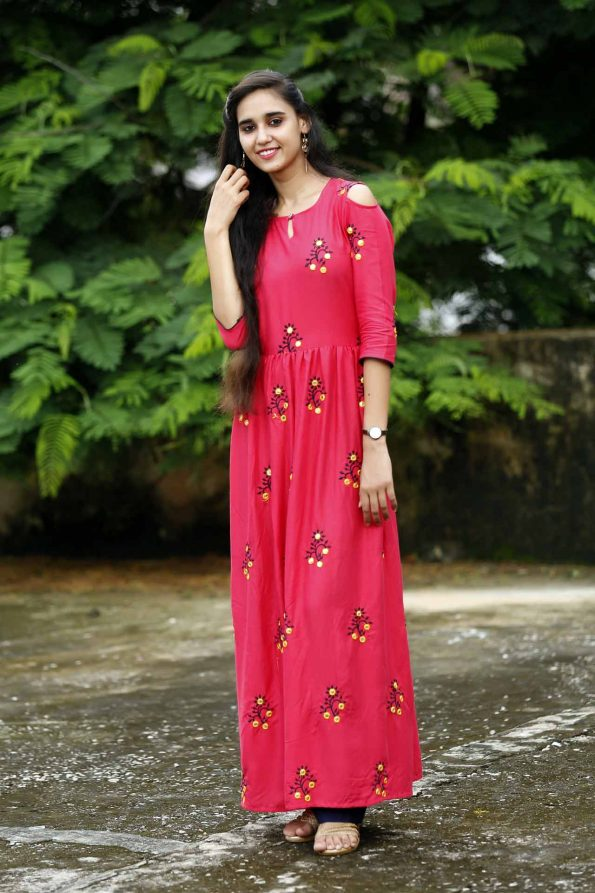 frock style long embroidery kurti kurti manufacturer in jaipur